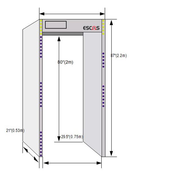 Kích thước cổng dò kim loại Terascan ESW-618
